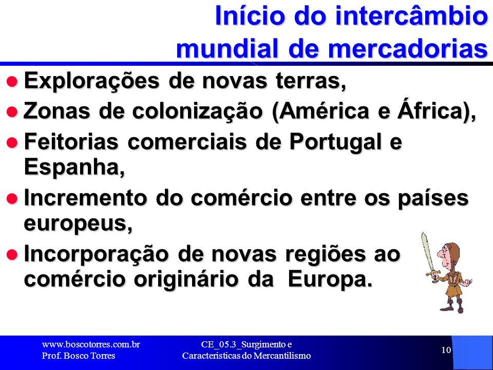 CE_05.3_Surgimento e Caracteristicas do Mercantilismo 10 Início do intercâmbio mundial de mercadorias Explorações de novas terras, Explorações de nova