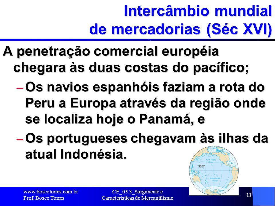 CE_05.3_Surgimento e Caracteristicas do Mercantilismo 11 Intercâmbio mundial de mercadorias (Séc XVI) A penetração comercial européia chegara às duas