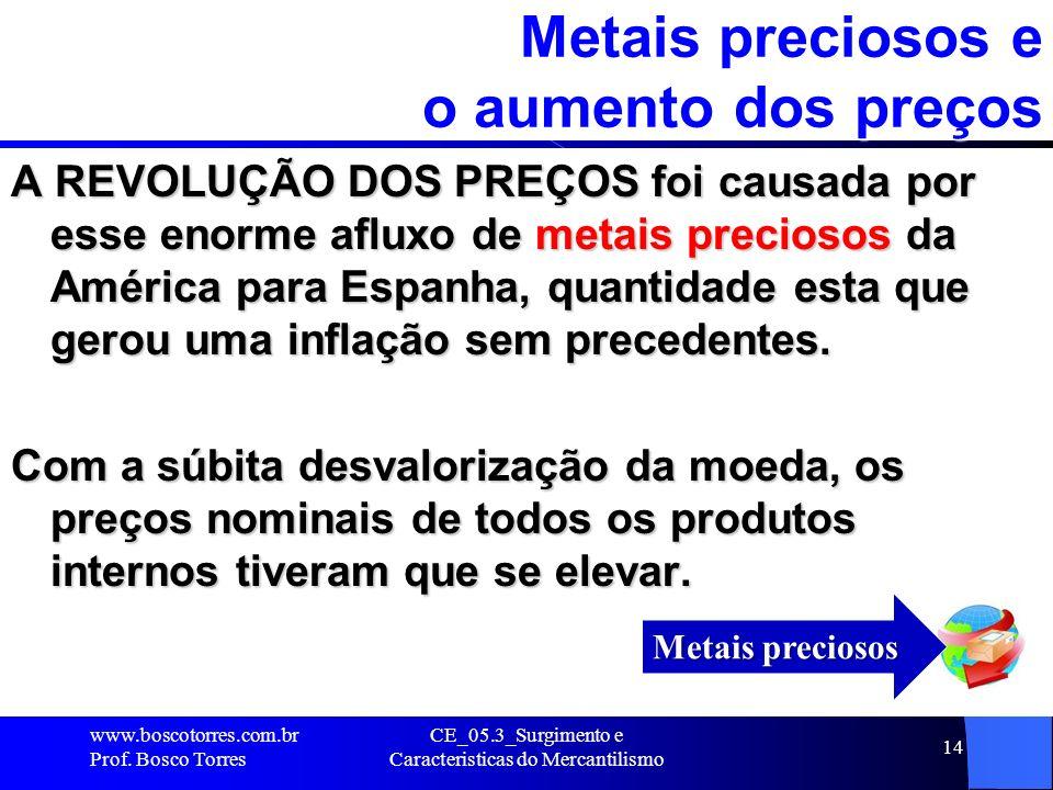 CE_05.3_Surgimento e Caracteristicas do Mercantilismo 14 Metais preciosos e o aumento dos preços A REVOLUÇÃO DOS PREÇOS foi causada por esse enorme af