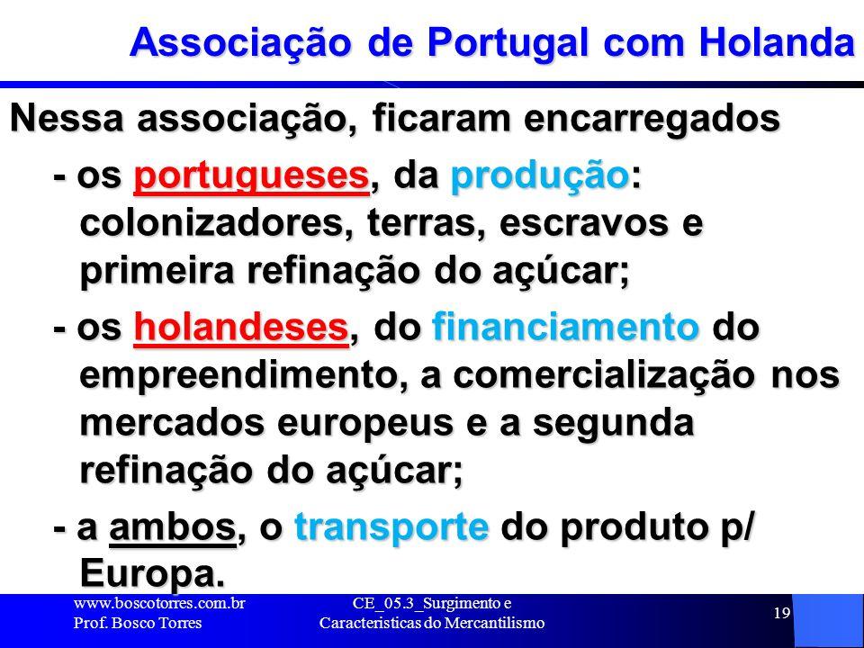 CE_05.3_Surgimento e Caracteristicas do Mercantilismo 19 Associação de Portugal com Holanda Nessa associação, ficaram encarregados - os portugueses, d