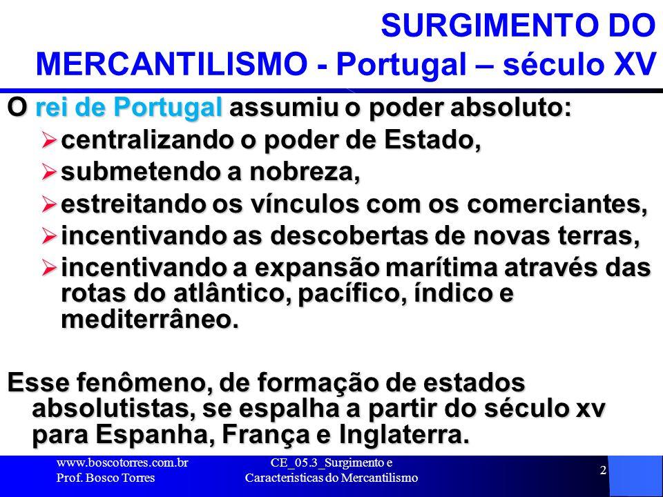 CE_05.3_Surgimento e Caracteristicas do Mercantilismo 2 SURGIMENTO DO MERCANTILISMO - Portugal – século XV O rei de Portugal assumiu o poder absoluto: