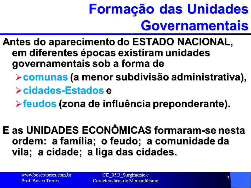 CE_05.3_Surgimento e Caracteristicas do Mercantilismo 3 Formação das Unidades Governamentais Antes do aparecimento do ESTADO NACIONAL, em diferentes é