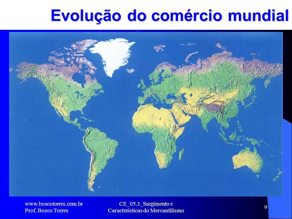 CE_05.3_Surgimento e Caracteristicas do Mercantilismo 9 Evolução do comércio mundial. www.boscotorres.com.br Prof. Bosco Torres