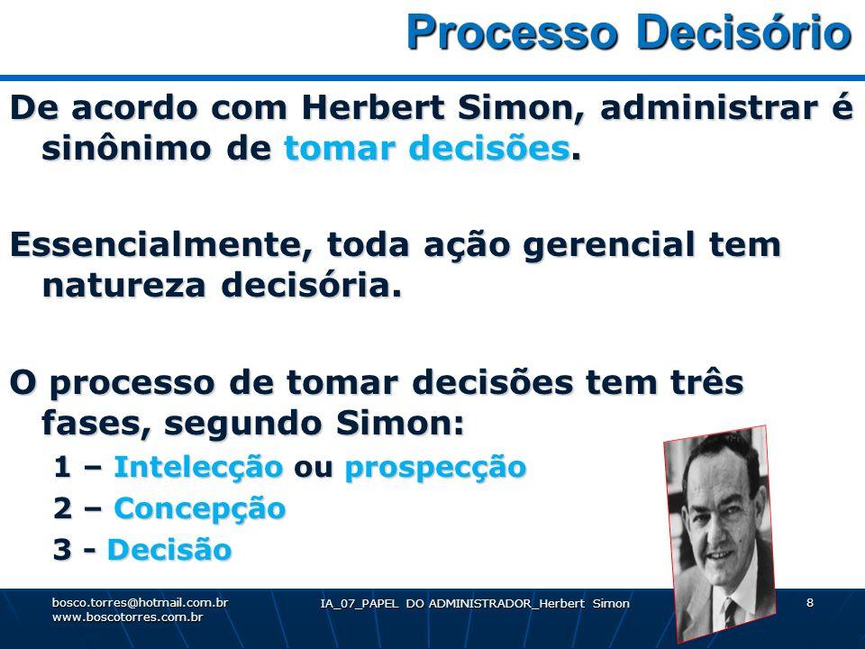 IA_07_PAPEL DO ADMINISTRADOR_Herbert Simon 8 Processo Decisório Processo Decisório De acordo com Herbert Simon, administrar é sinônimo de tomar decisõ
