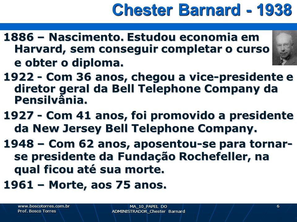 MA_10_PAPEL DO ADMINISTRADOR_Chester Barnard 6 Chester Barnard - 1938 Chester Barnard - 1938 1886 – Nascimento. Estudou economia em Harvard, sem conse