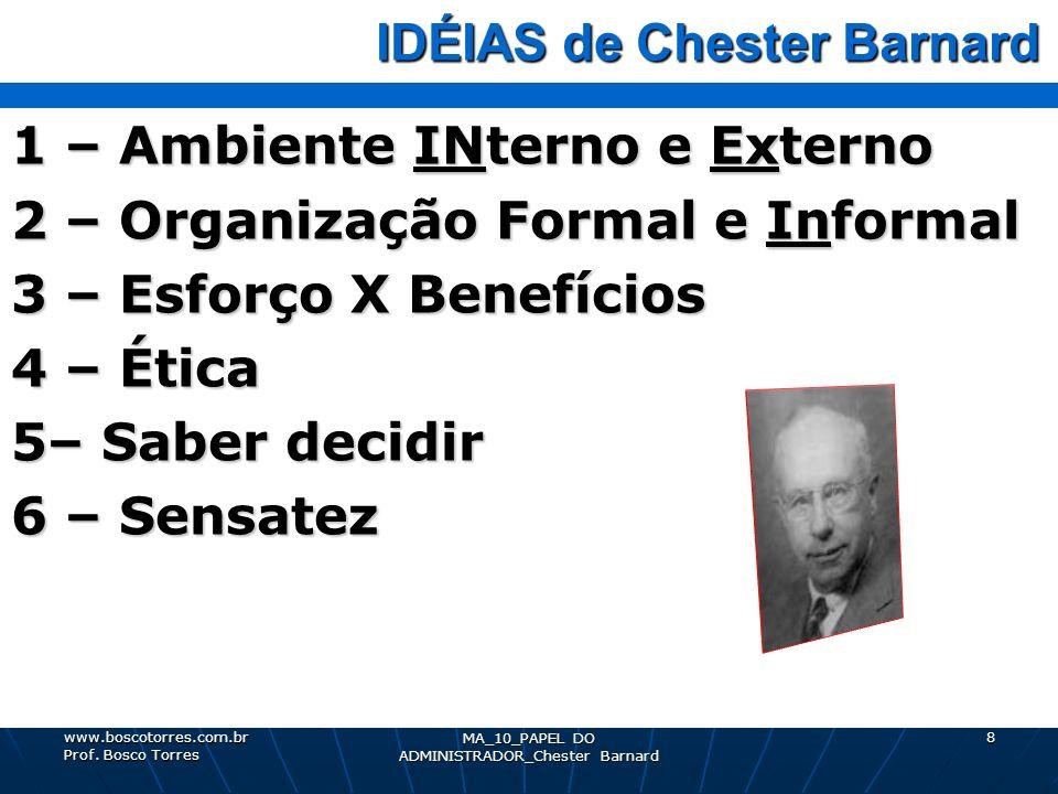 IDÉIAS de Chester Barnard IDÉIAS de Chester Barnard 1 – Ambiente INterno e Externo 2 – Organização Formal e Informal 3 – Esforço X Benefícios 4 – Étic