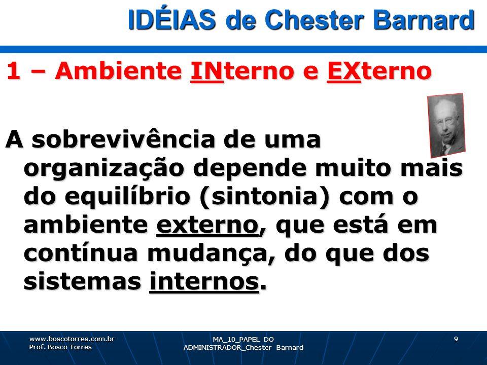 9 IDÉIAS de Chester Barnard IDÉIAS de Chester Barnard 1 – Ambiente INterno e EXterno A sobrevivência de uma organização depende muito mais do equilíbr