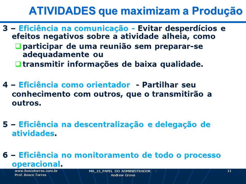 MA_15_PAPEL DO ADMINISTRADOR - Andrew Grove 11 ATIVIDADES que maximizam a Produção ATIVIDADES que maximizam a Produção 3 – Eficiência na comunicação -