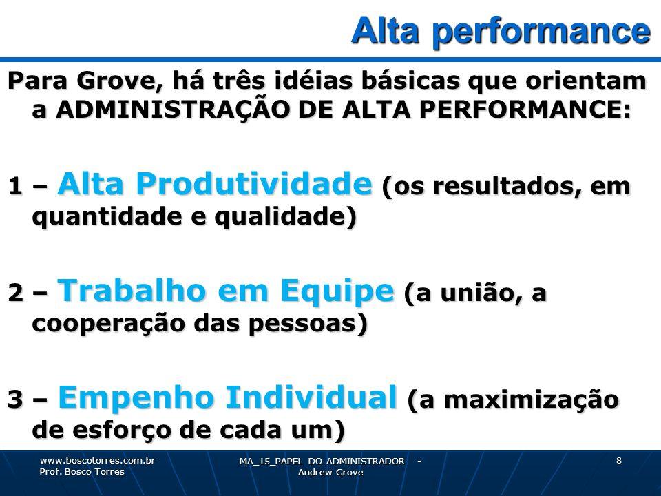 MA_15_PAPEL DO ADMINISTRADOR - Andrew Grove 8 Alta performance Alta performance Para Grove, há três idéias básicas que orientam a ADMINISTRAÇÃO DE ALT