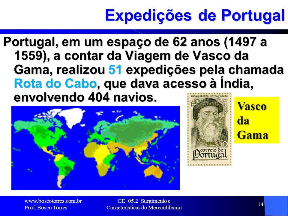 CE_05.2_Surgimento e Caracteristicas do Mercantilismo 14 Expedições de Portugal Portugal, em um espaço de 62 anos (1497 a 1559), a contar da Viagem de