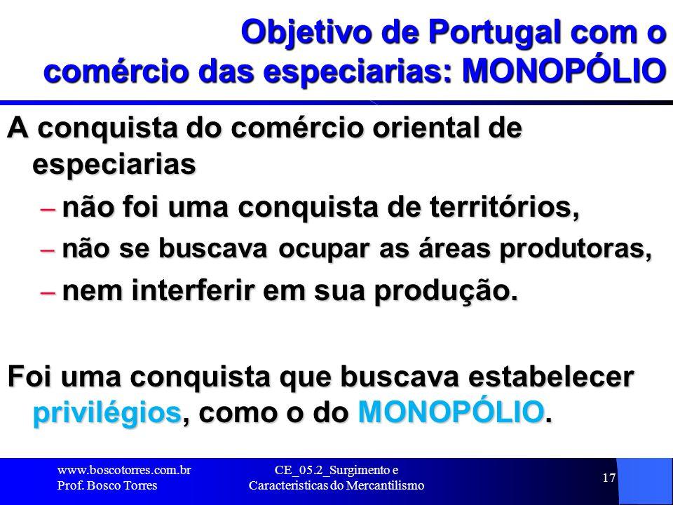CE_05.2_Surgimento e Caracteristicas do Mercantilismo 17 Objetivo de Portugal com o comércio das especiarias: MONOPÓLIO A conquista do comércio orient