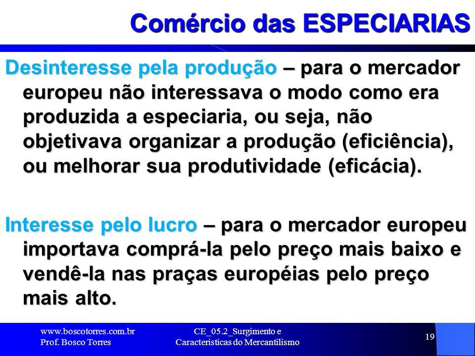 CE_05.2_Surgimento e Caracteristicas do Mercantilismo 19 Comércio das ESPECIARIAS Desinteresse pela produção – para o mercador europeu não interessava
