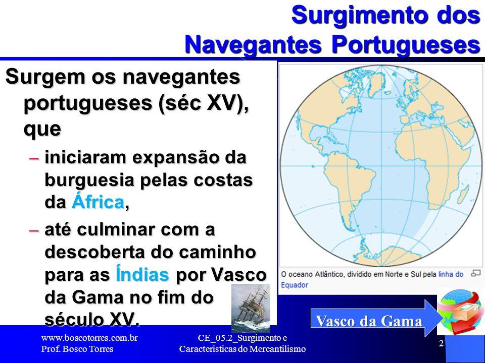CE_05.2_Surgimento e Caracteristicas do Mercantilismo 2 Surgimento dos Navegantes Portugueses Surgem os navegantes portugueses (séc XV), que – iniciar