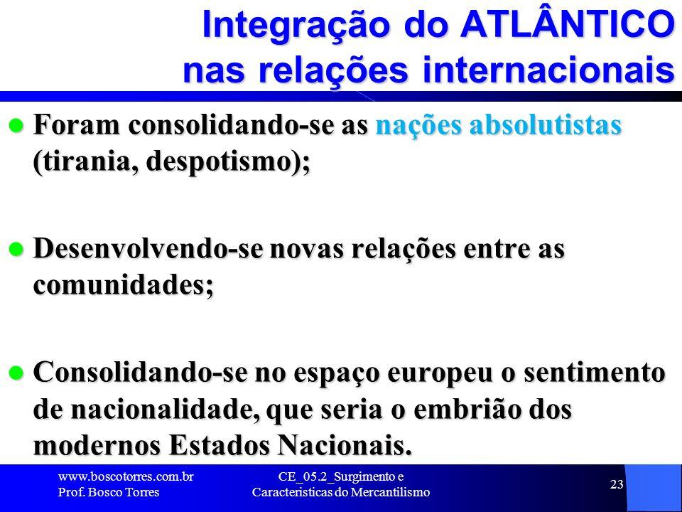 CE_05.2_Surgimento e Caracteristicas do Mercantilismo 23 Integração do ATLÂNTICO nas relações internacionais Foram consolidando-se as nações absolutis