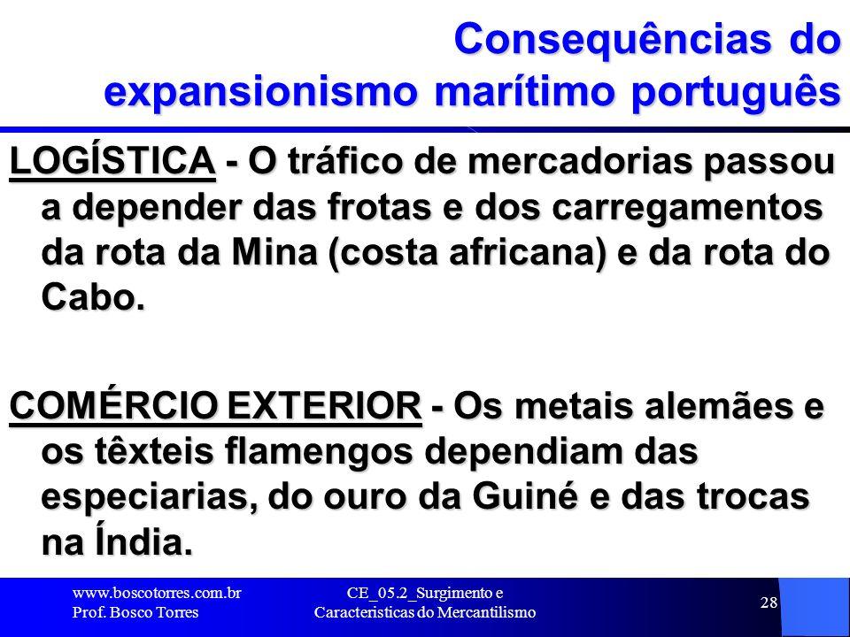 CE_05.2_Surgimento e Caracteristicas do Mercantilismo 28 Consequências do expansionismo marítimo português LOGÍSTICA - O tráfico de mercadorias passou
