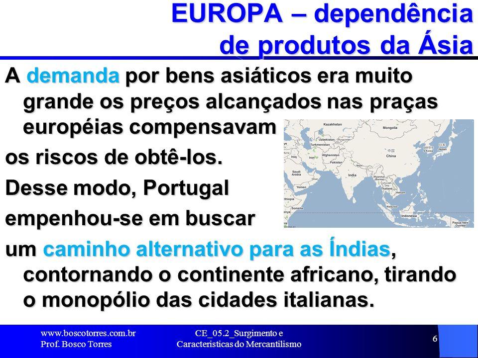 CE_05.2_Surgimento e Caracteristicas do Mercantilismo 6 EUROPA – dependência de produtos da Ásia A demanda por bens asiáticos era muito grande os preç