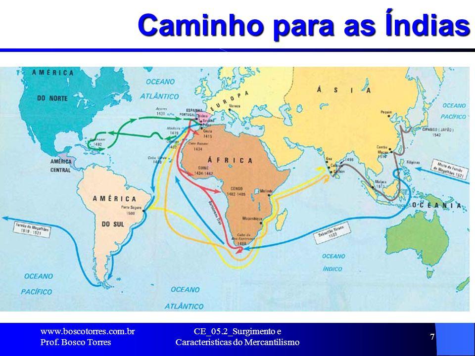 CE_05.2_Surgimento e Caracteristicas do Mercantilismo 7 Caminho para as Índias. www.boscotorres.com.br Prof. Bosco Torres