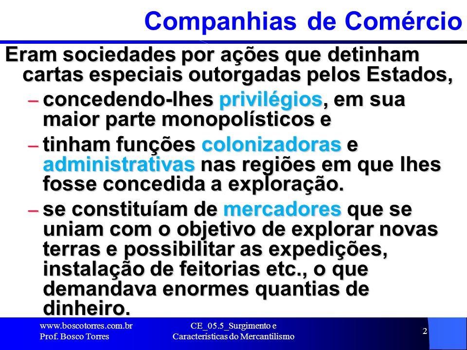 CE_05.5_Surgimento e Características do Mercantilismo 2 Companhias de Comércio Eram sociedades por ações que detinham cartas especiais outorgadas pelo