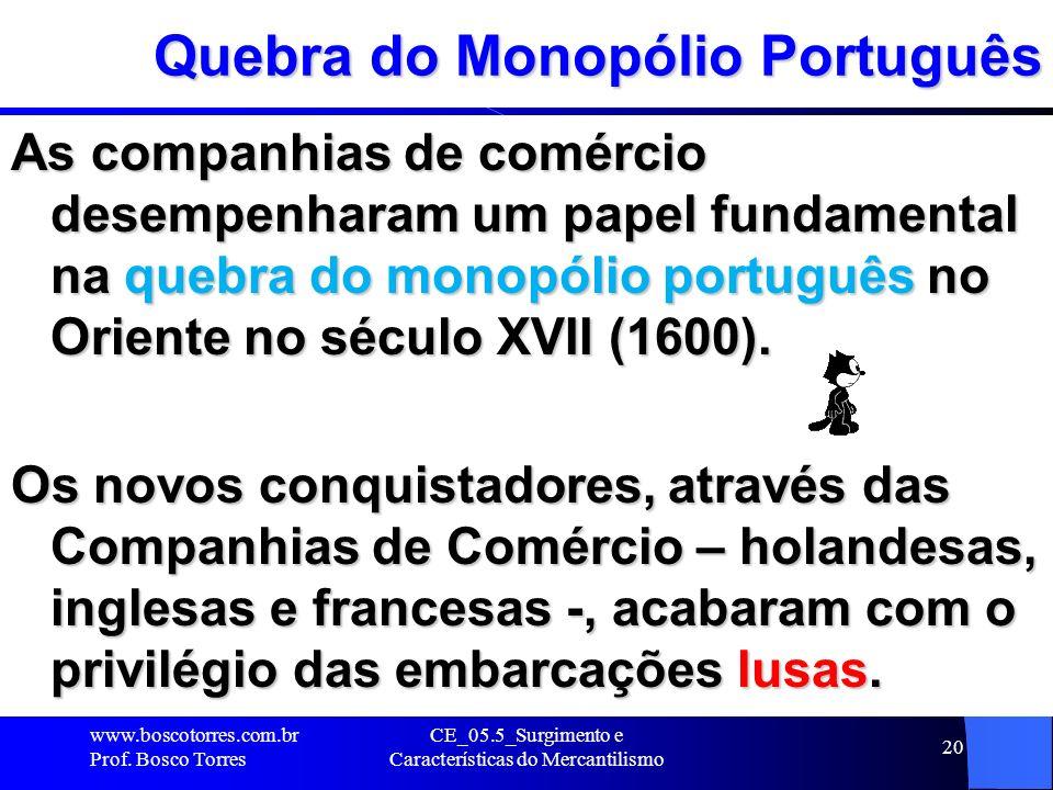 CE_05.5_Surgimento e Características do Mercantilismo 20 Quebra do Monopólio Português As companhias de comércio desempenharam um papel fundamental na