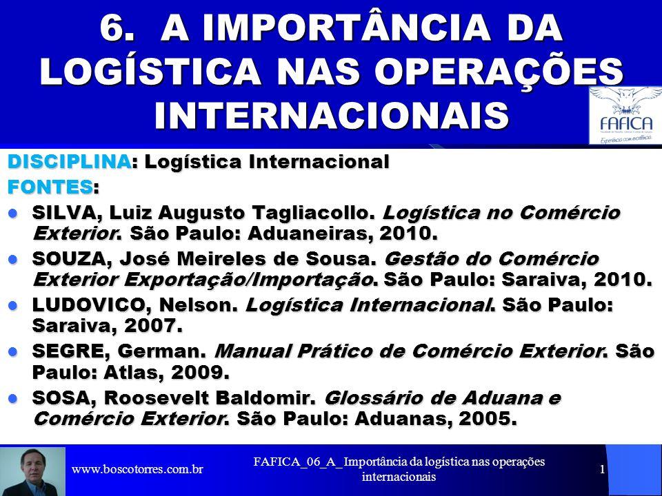 FAFICA_06_A_ Importância da logística nas operações internacionais 1 6. A IMPORTÂNCIA DA LOGÍSTICA NAS OPERAÇÕES INTERNACIONAIS DISCIPLINA: Logística