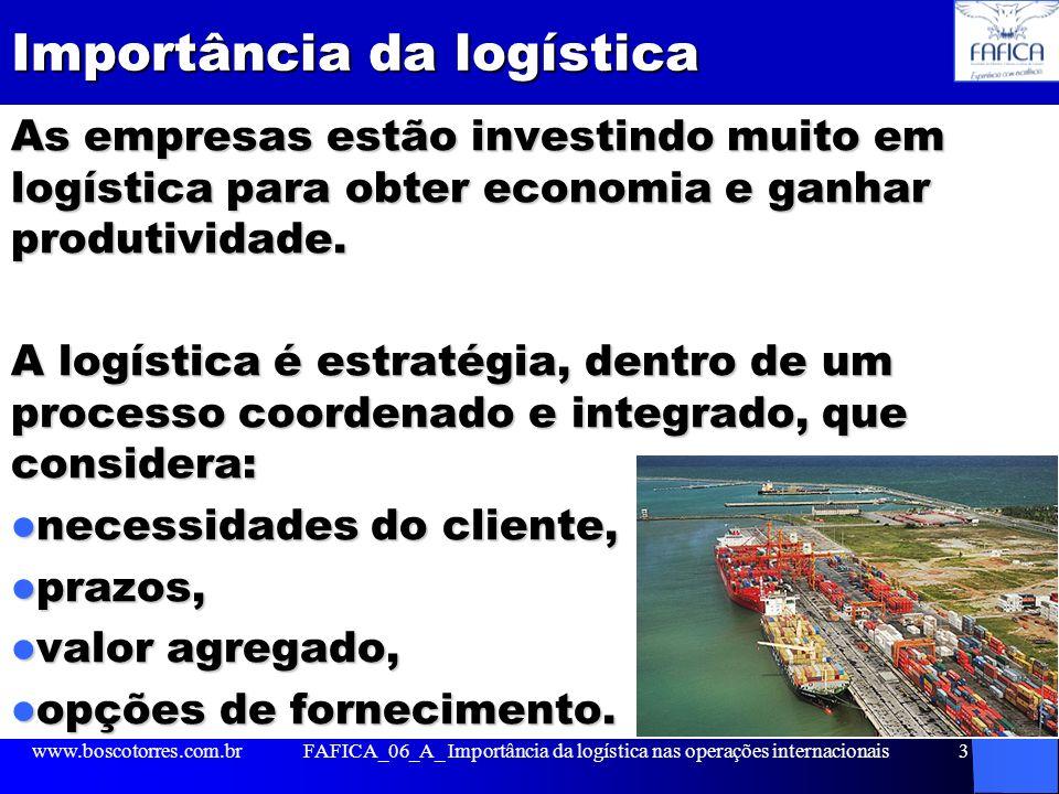 Importância da logística As empresas estão investindo muito em logística para obter economia e ganhar produtividade. A logística é estratégia, dentro