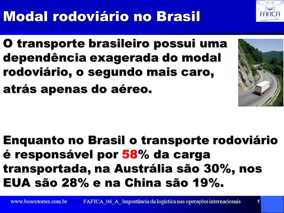 Modal rodoviário no Brasil O transporte brasileiro possui uma dependência exagerada do modal rodoviário, o segundo mais caro, atrás apenas do aéreo. E