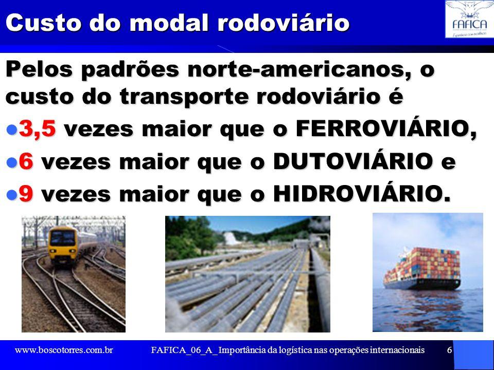 Custo do modal rodoviário Pelos padrões norte-americanos, o custo do transporte rodoviário é 3,5 vezes maior que o FERROVIÁRIO, 3,5 vezes maior que o