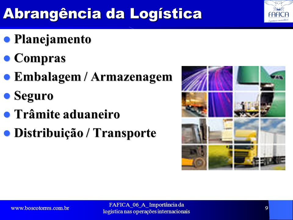 Abrangência da Logística Planejamento Planejamento Compras Compras Embalagem / Armazenagem Embalagem / Armazenagem Seguro Seguro Trâmite aduaneiro Trâ