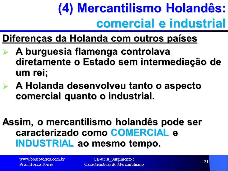 CE-05.8_Surgimento e Características do Mercantilismo 21 (4) Mercantilismo Holandês: comercial e industrial Diferenças da Holanda com outros países A