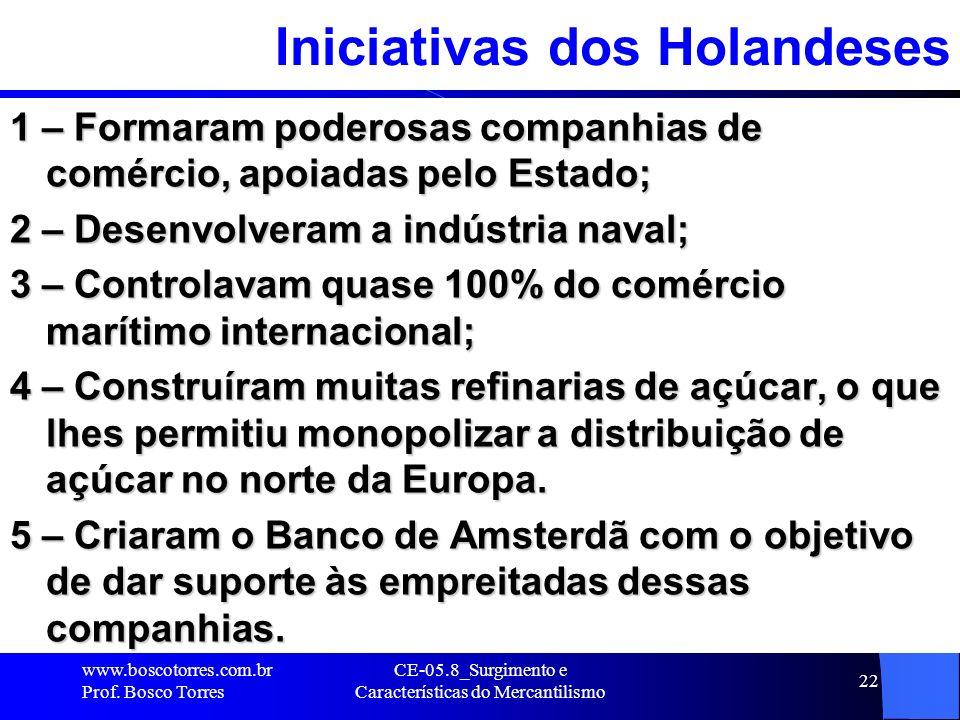 CE-05.8_Surgimento e Características do Mercantilismo 22 Iniciativas dos Holandeses 1 – Formaram poderosas companhias de comércio, apoiadas pelo Estad