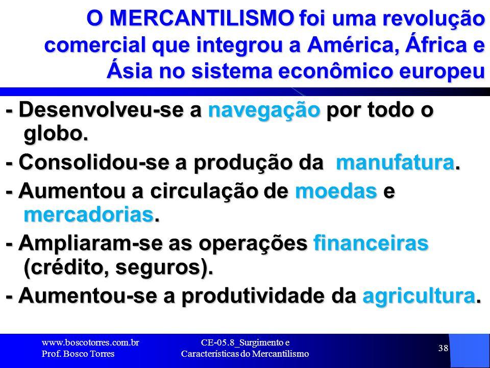 CE-05.8_Surgimento e Características do Mercantilismo 38 O MERCANTILISMO foi uma revolução comercial que integrou a América, África e Ásia no sistema
