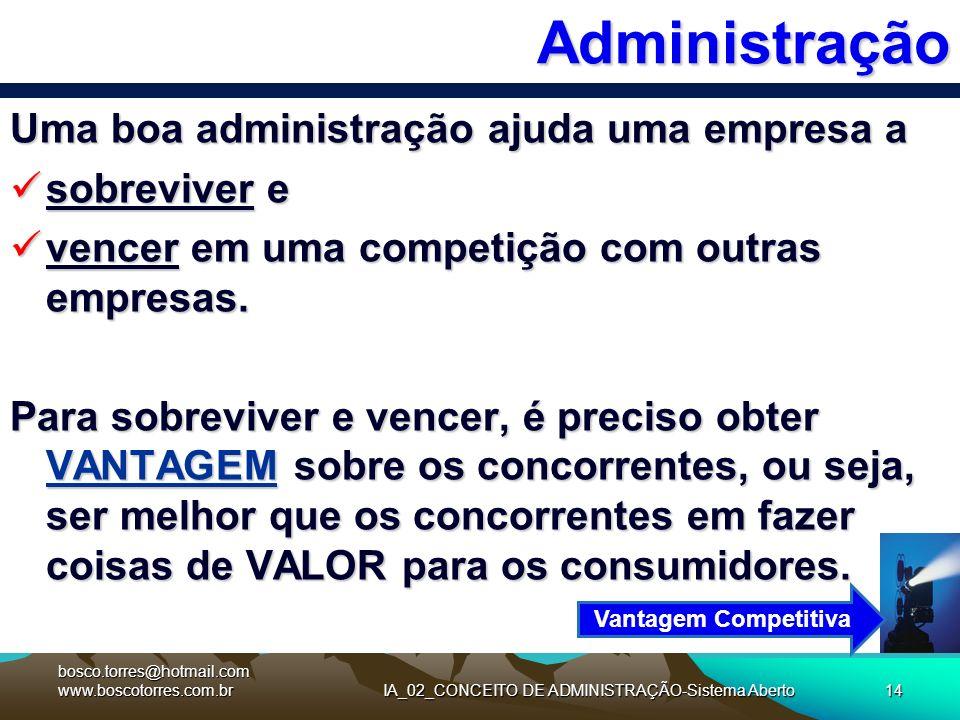 IA_02_CONCEITO DE ADMINISTRAÇÃO-Sistema Aberto14Administração Uma boa administração ajuda uma empresa a sobreviver e sobreviver e vencer em uma compet