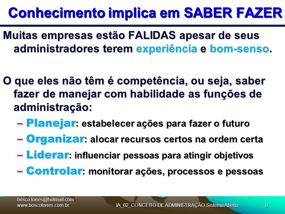 IA_02_CONCEITO DE ADMINISTRAÇÃO-Sistema Aberto8 Conhecimento implica em SABER FAZER Muitas empresas estão FALIDAS apesar de seus administradores terem