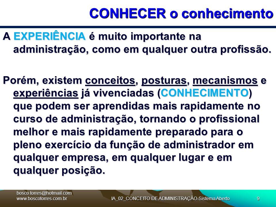 IA_02_CONCEITO DE ADMINISTRAÇÃO-Sistema Aberto9 CONHECER o conhecimento A EXPERIÊNCIA é muito importante na administração, como em qualquer outra prof