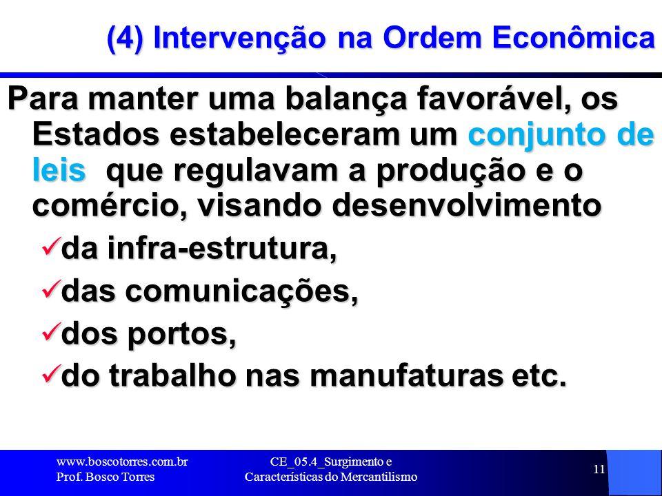 CE_05.4_Surgimento e Características do Mercantilismo 11 (4) Intervenção na Ordem Econômica Para manter uma balança favorável, os Estados estabelecera