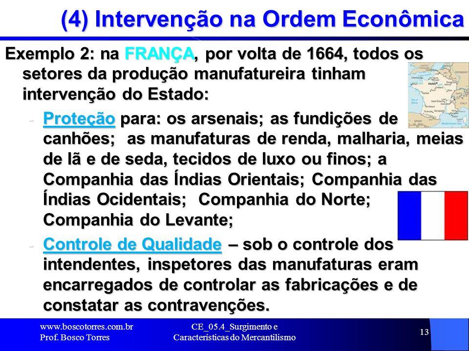 CE_05.4_Surgimento e Características do Mercantilismo 13 (4) Intervenção na Ordem Econômica Exemplo 2: na FRANÇA, por volta de 1664, todos os setores