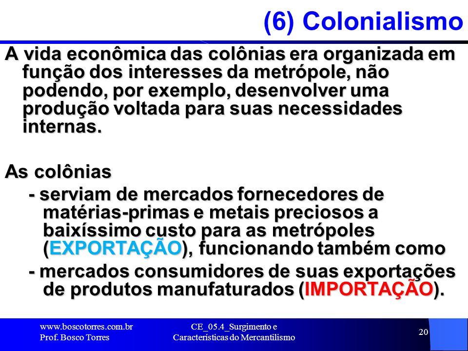 CE_05.4_Surgimento e Características do Mercantilismo 20 (6) Colonialismo A vida econômica das colônias era organizada em função dos interesses da met