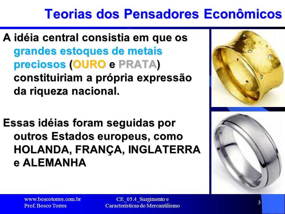 CE_05.4_Surgimento e Características do Mercantilismo 3 Teorias dos Pensadores Econômicos A idéia central consistia em que os grandes estoques de meta