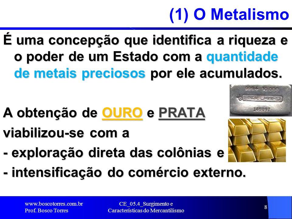 CE_05.4_Surgimento e Características do Mercantilismo 8 (1) O Metalismo É uma concepção que identifica a riqueza e o poder de um Estado com a quantida