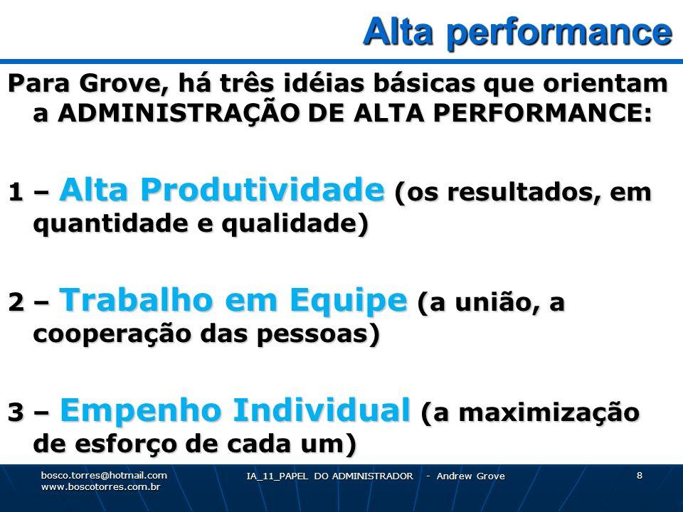 IA_11_PAPEL DO ADMINISTRADOR - Andrew Grove 9 ATIVIDADES que maximizam a Produção Para Grove, a produtividade elevada do administrador depende da escolha de atividades de alta alavancagem administrativa, ou seja, as atividades que maximizam a produção.