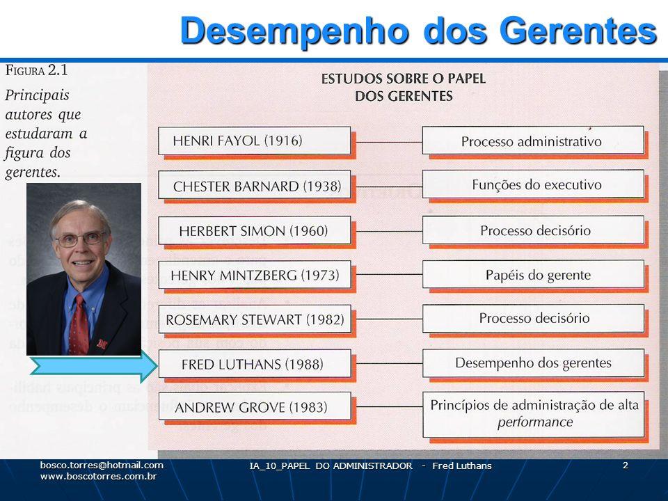 IA_10_PAPEL DO ADMINISTRADOR - Fred Luthans 2 Desempenho dos Gerentes Desempenho dos Gerentes.