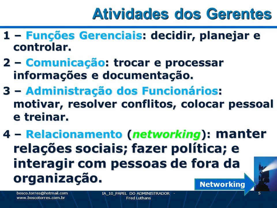 IA_10_PAPEL DO ADMINISTRADOR - Fred Luthans 5 Atividades dos Gerentes Atividades dos Gerentes 1 – Funções Gerenciais: decidir, planejar e controlar.