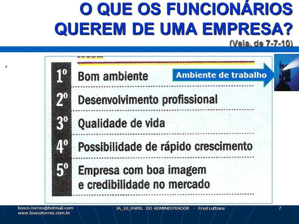 O QUE OS FUNCIONÁRIOS QUEREM DE UMA EMPRESA.