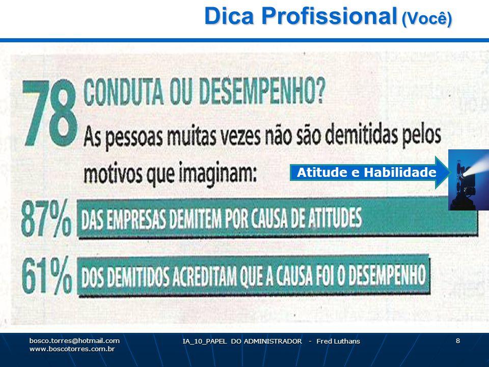 IA_10_PAPEL DO ADMINISTRADOR - Fred Luthans 8 Dica Profissional (Você) Dica Profissional (Você).