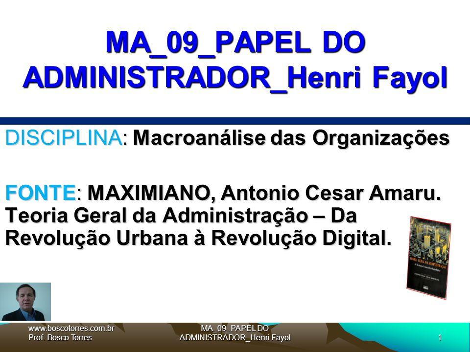 1 MA_09_PAPEL DO ADMINISTRADOR_Henri Fayol DISCIPLINA: Macroanálise das Organizações FONTE: MAXIMIANO, Antonio Cesar Amaru.