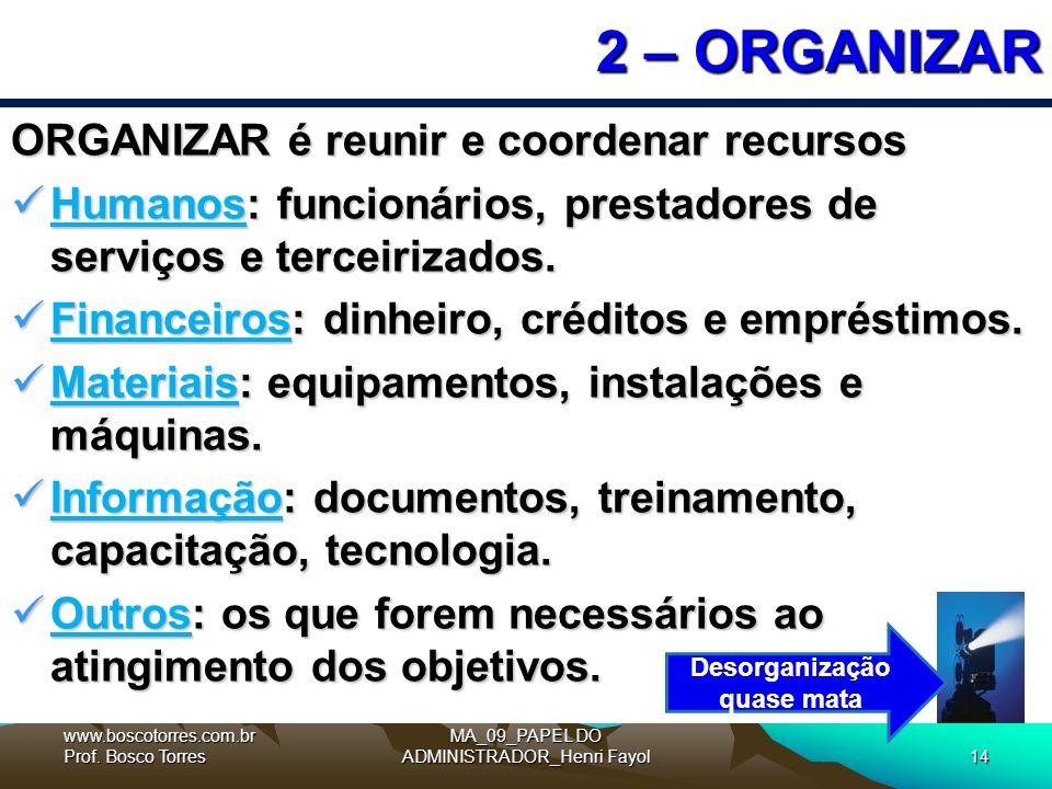 MA_09_PAPEL DO ADMINISTRADOR_Henri Fayol14 2 – ORGANIZAR ORGANIZAR é reunir e coordenar recursos Humanos: funcionários, prestadores de serviços e terceirizados.