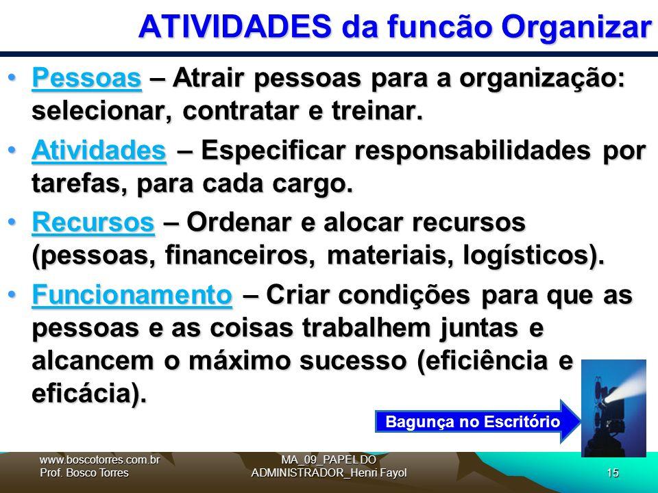 MA_09_PAPEL DO ADMINISTRADOR_Henri Fayol15 ATIVIDADES da funcão Organizar Pessoas – Atrair pessoas para a organização: selecionar, contratar e treinar.Pessoas – Atrair pessoas para a organização: selecionar, contratar e treinar.