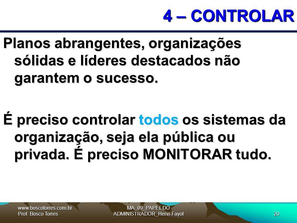MA_09_PAPEL DO ADMINISTRADOR_Henri Fayol20 4 – CONTROLAR Planos abrangentes, organizações sólidas e líderes destacados não garantem o sucesso.