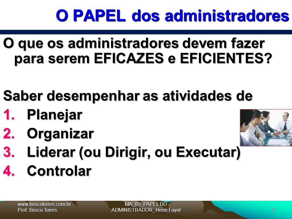 MA_09_PAPEL DO ADMINISTRADOR_Henri Fayol7 O PAPEL dos administradores O que os administradores devem fazer para serem EFICAZES e EFICIENTES.