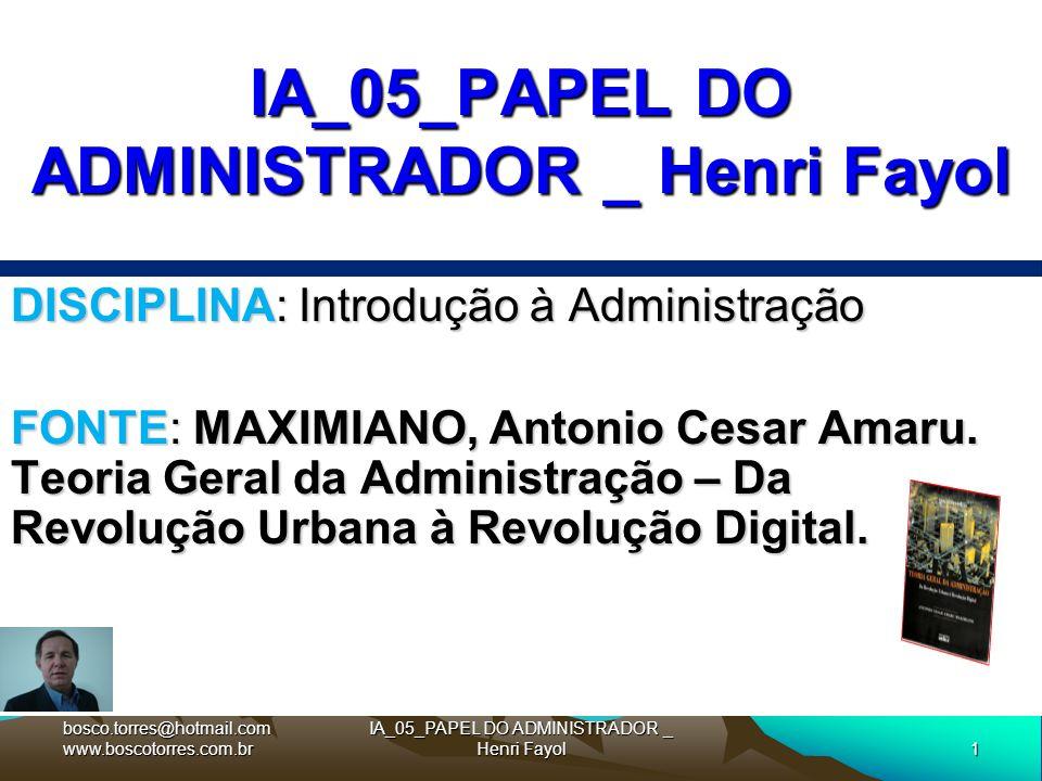 1 IA_05_PAPEL DO ADMINISTRADOR _ Henri Fayol DISCIPLINA: Introdução à Administração FONTE: MAXIMIANO, Antonio Cesar Amaru. Teoria Geral da Administraç